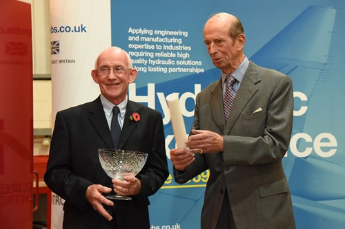 HRH the Duke of Kent presents the Queen's award to Geoff Davis